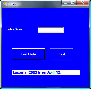 Easter in 2009 is on Apirl 12th.